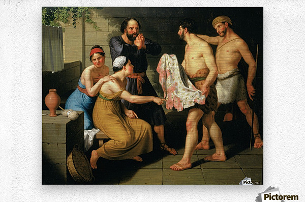 Joseph's brothers bring his coat to Jacob  Metal print