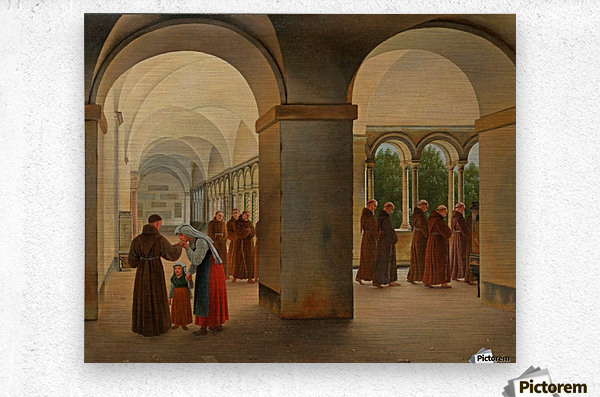 Procession of monks in the cloister of the Basilica San Paolo Fuori le Mura in Rome  Metal print