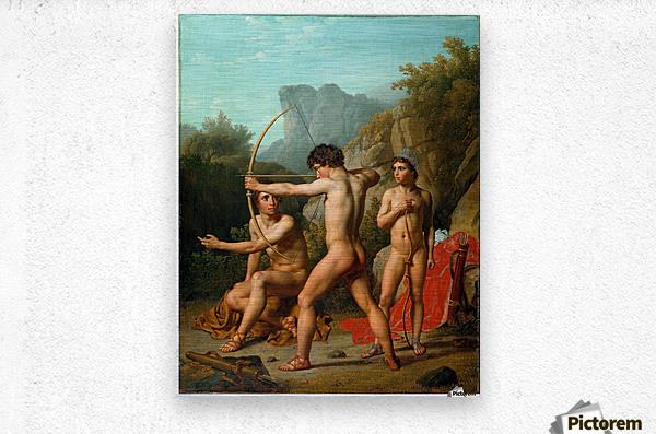 Three Spartan boys practising archery  Metal print