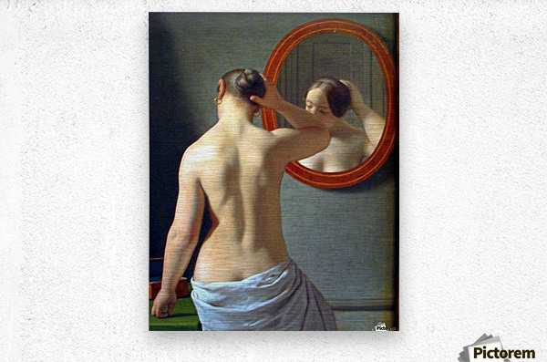 Woman in front of a mirror  Metal print