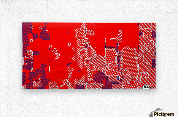 graffiti drawing and painting abstract in red and blue  Metal print