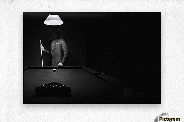 ; Mystery Pool Player Behind Rack Of Billiard Balls  Impression metal