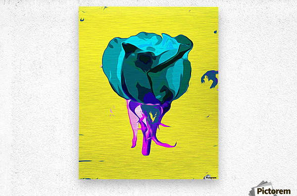 green rose with purple stem and yellow background  Metal print
