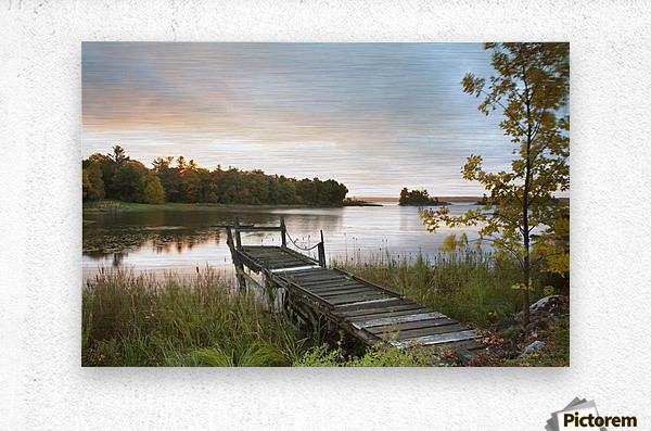 A Dock On A Lake At Sunrise Near Wawa; Ontario, Canada  Metal print