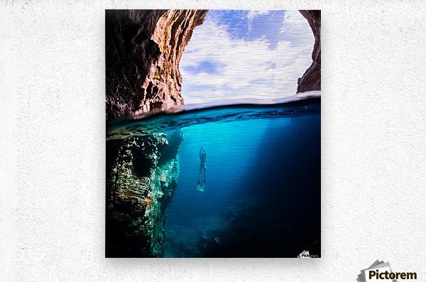 Cave diving vert  Metal print