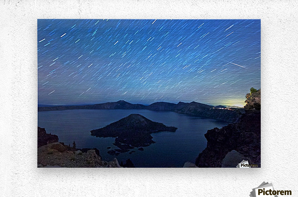 Perseid Over Crater Lake 8 11 2015  Metal print