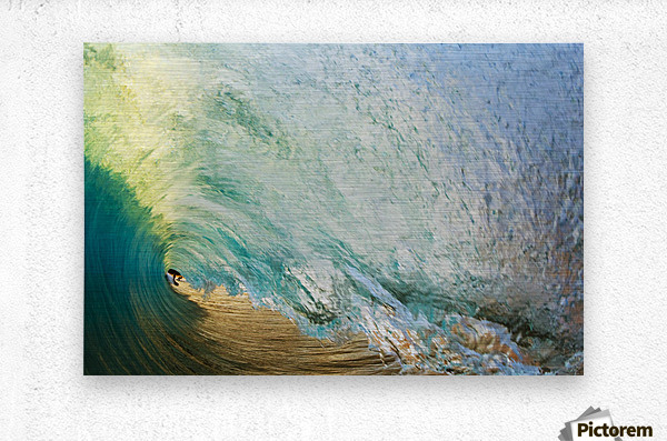Hawaii, Maui, Makena Beach, View Of Distant Surfers Through Barrel Of Turquoise Wave, Sunset Light.  Metal print