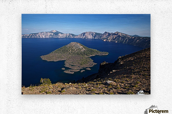 West rim view of Crater Lake overlooking Wizard Island  Metal print