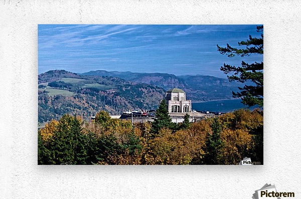 Crown Point overlooking Columbia River Gorge with fall colors  Metal print