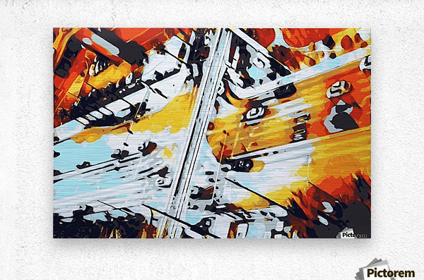 road in the city geometric abstract background  Metal print