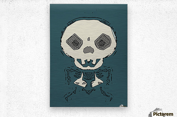 skull and bone graffiti drawing with green background  Metal print