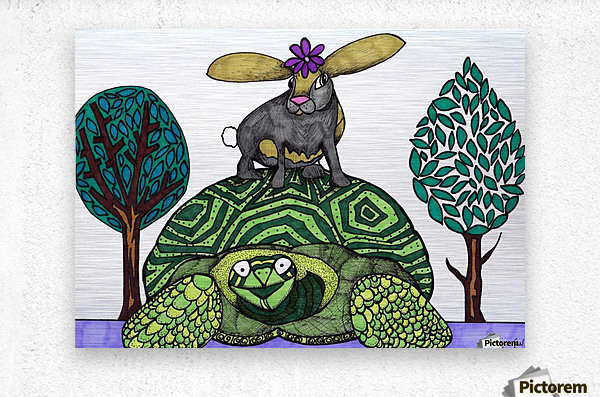 tortoise and hare  Metal print