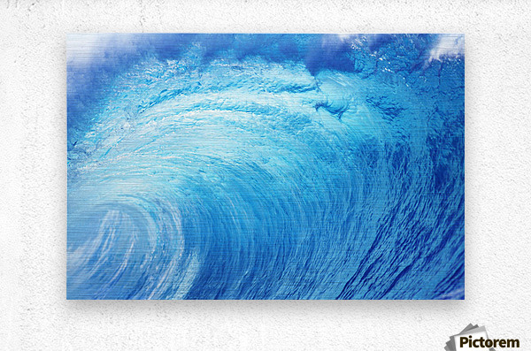 Hawaii, Oahu, North Shore, Curling Wave At World Famous Pipeline.  Metal print