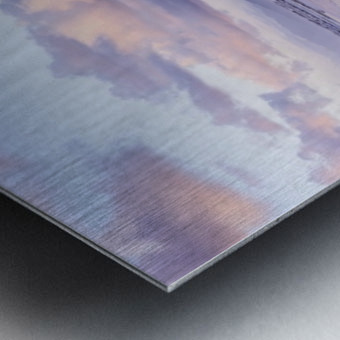 Clouds reflect on an Oregon beach at sunrise; Hammond, Oregon, United States of America Metal print