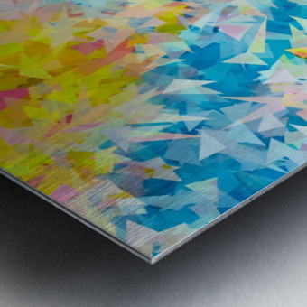 psychedelic geometric triangle abstract pattern in blue pink yellow Metal print