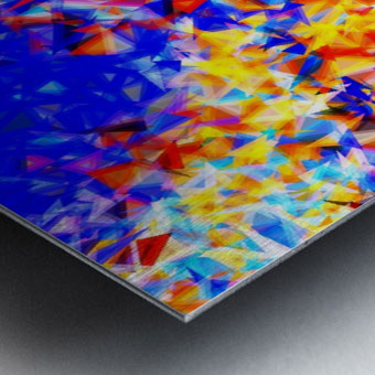 psychedelic geometric triangle abstract pattern in blue orange yellow Metal print