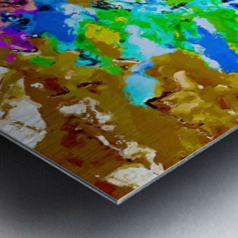 psychedelic splash painting abstract texture in brown green blue pink Metal print