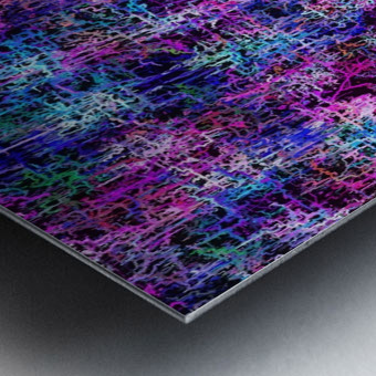 psychedelic abstract art pattern texture background in pink blue black Metal print