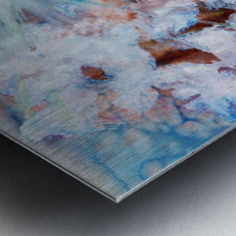 Abstract watercolour painting with a starburst Metal print