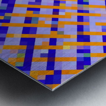 geometric pixel square pattern abstract background in orange blue purple Metal print