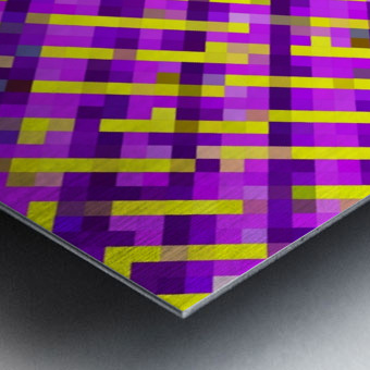 geometric pixel square pattern abstract background in pink purple yellow Metal print