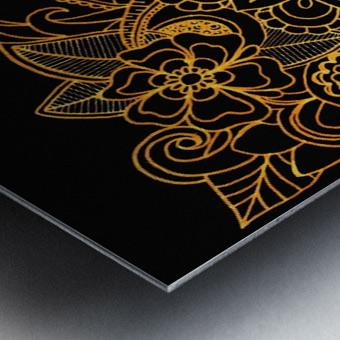 Floral Doodle Gold G523 Metal print
