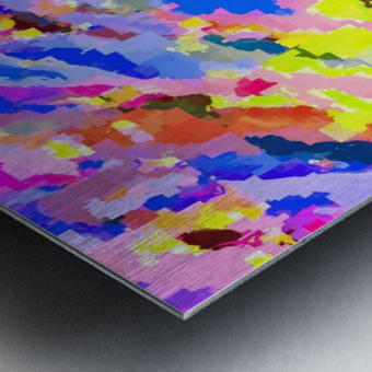 psychedelic geometric square pixel pattern abstract in pink yellow blue Metal print