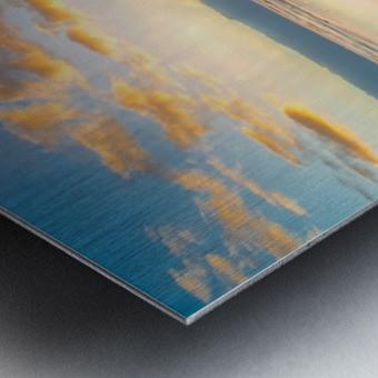 Beach sunrise reflected on the wet sand Metal print
