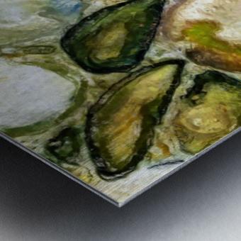 Green Stones in a Cut Metal print