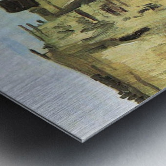 Farmhouse with farmer digging by Van Gogh Metal print
