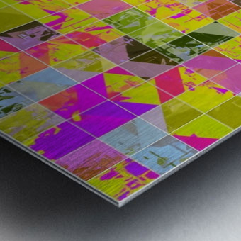 geometric square pattern abstract in yellow green pink Metal print