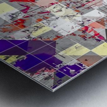 geometric square pixel pattern abstract in purple orange red Metal print