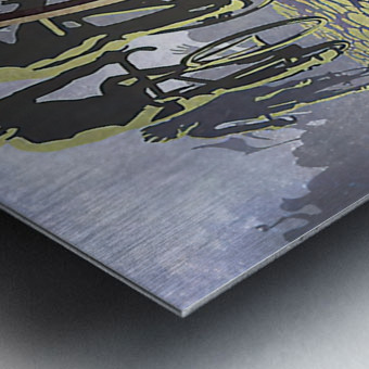 Paris Roubaix retro cycling poster Metal print