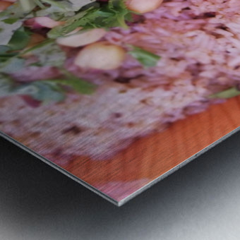 Each grain in your dish is a fruit of work.  Metal print