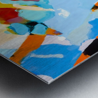 painting texture abstract in blue orange green yellow Metal print
