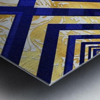 Geometric Gold Dark Blue Marble Metal print