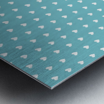 Cadet Blue Heart Shape Pattern Metal print