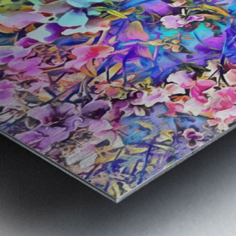 Pink and Blue Fusion Metal print