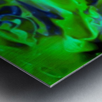 Gemphire - emerald green dark blue abstract swirls wall art Metal print