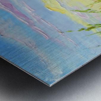 Summer flowers in the oil painting field Metal print