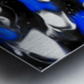 Booster - blue white black silver spots swirls abstract wall art Metal print