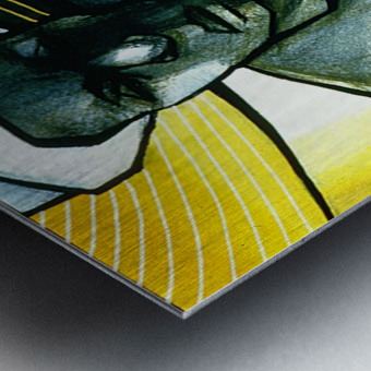Woman with 2 mangoes Metal print