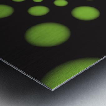 Green Spiral Dots Metal print