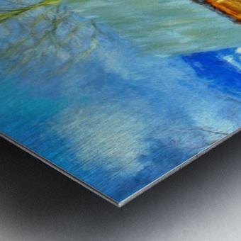 Winter Homestead Watercolor  Metal print