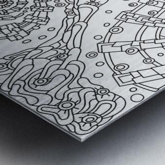 Wandering Abstract Line Art 02: Black & White Metal print