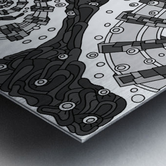 Wandering Abstract Line Art 02: Grayscale Metal print