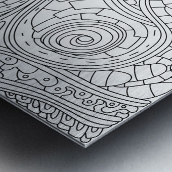 Wandering Abstract Line Art 03: Black & White Metal print