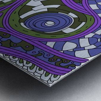 Wandering Abstract Line Art 03: Purple Metal print