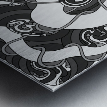 Wandering Abstract Line Art 04: Grayscale Metal print