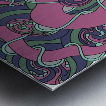 Wandering Abstract Line Art 04: Pink Metal print